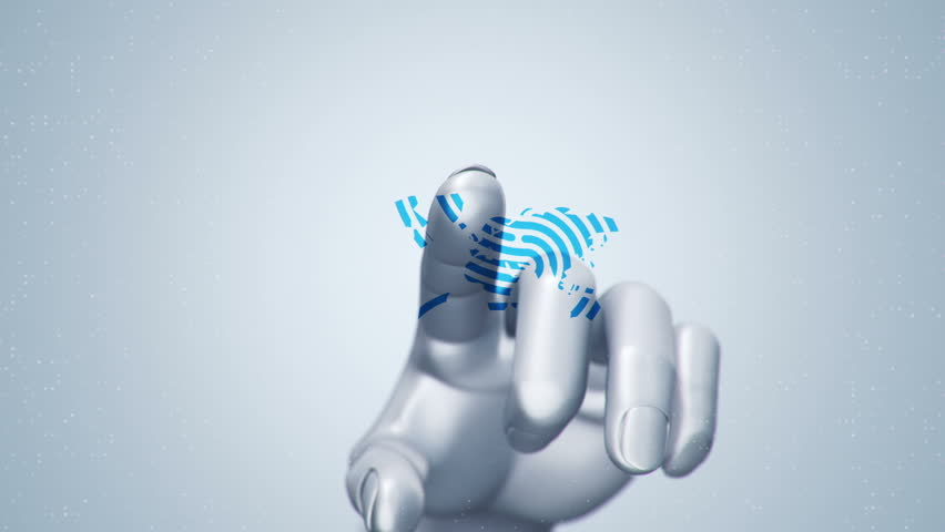 Animation touching finger of abstract human hand to touch screen and scanning tech symbol as fingerprint. Animation of seamless loop. | Shutterstock HD Video #22483774