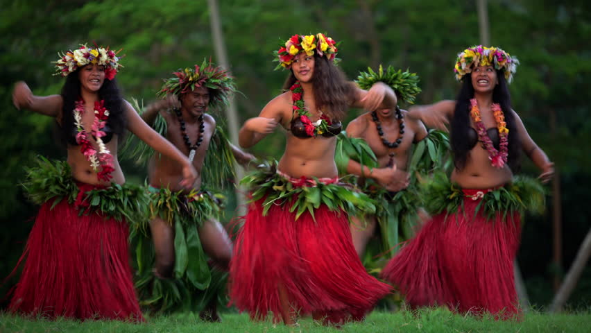 Young males and females in a group of Tahitian hula dancers performing outdoor barefoot in traditional costume Tahiti French Polynesia South Pacific | Shutterstock HD Video #22489654