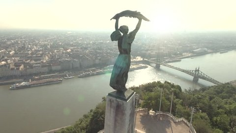 Aerial view of Budapest in Citadell - Liberty statue at sunrise, June 2016: Budapest, Hungary