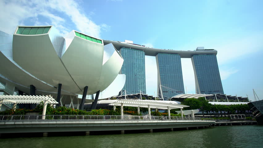 Singapore - September 2016: Waterfront view of Marina Bay Sands hotel Resort Marina Bay modern Metropolis and Art Science Museum Building South East Asia