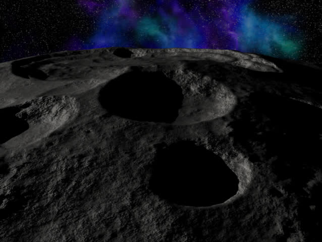 Computer-generated 3D animation depicting an Earth-rise