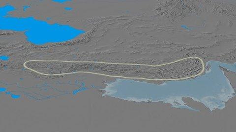 Revolution around Zagros mountain range - glowed. Elevation map. High resolution ASTER GDEM data textured