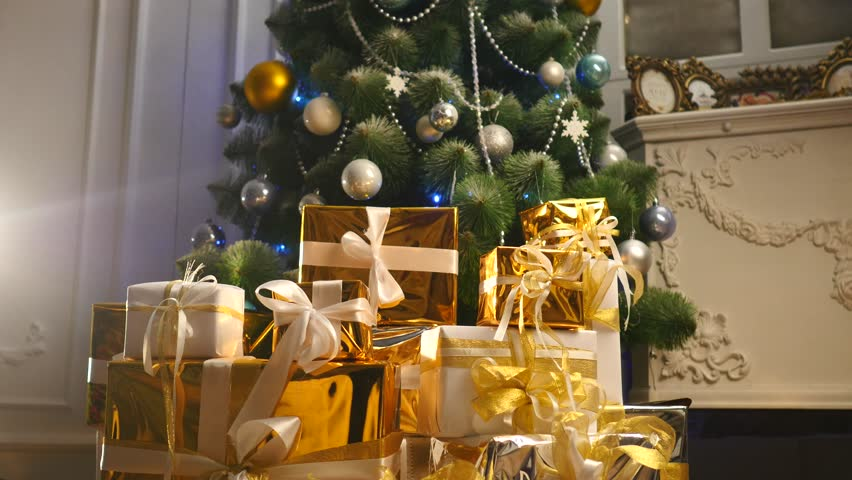 luxury gift boxes under christmas stock footage video 100 royalty free 22584694 shutterstock