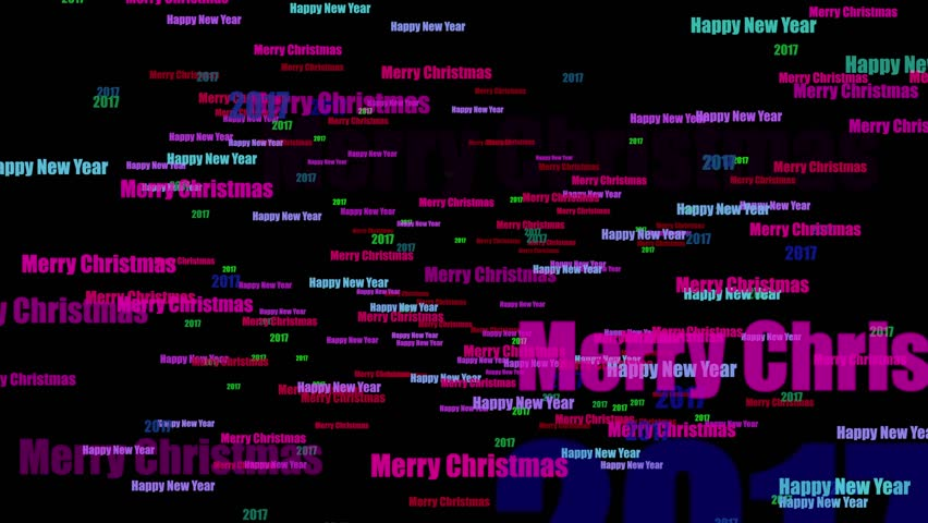 Happy New Year And Merry Christmas 2017 Text Animation 4K Loop | Shutterstock HD Video #22589074