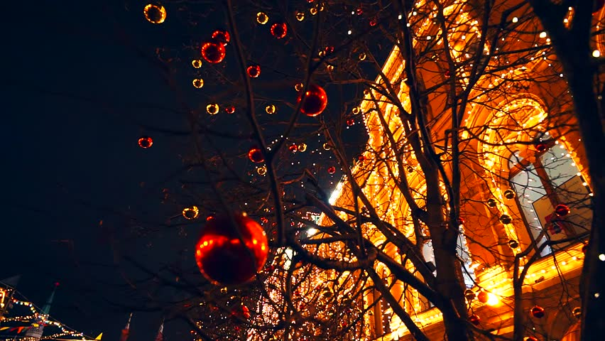 Modern Christmas town. A tree decorated with balloons and the house lights. | Shutterstock HD Video #22650391