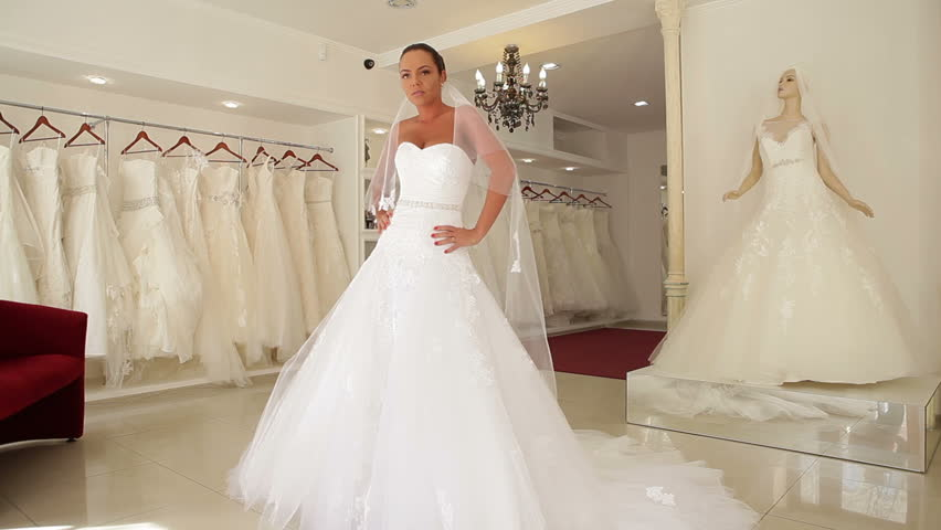 Women In Wedding Dresses In Bridal Boutique   HD Stock Video Clip