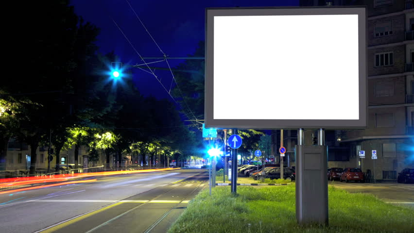 Billboard in the city street, blank screen hd time lapse