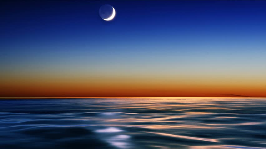 night sky over the sea with falling sickness star, loop