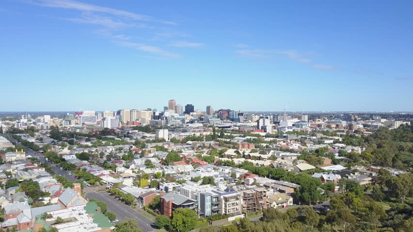 4k aerial video of downtown Adelaide in Australia
