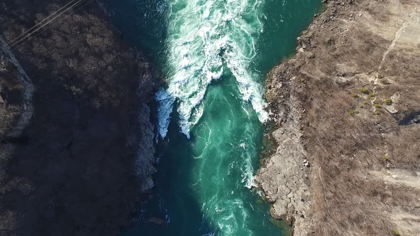 Niagara whirlpool camera looking down over water 2 aerial