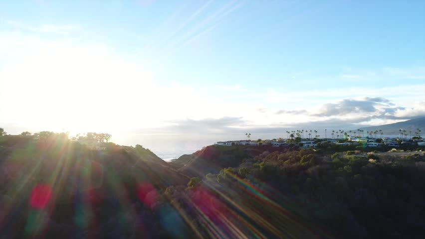 Beautiful aerial video of Malibu with gorgeous lens flare (1080p)