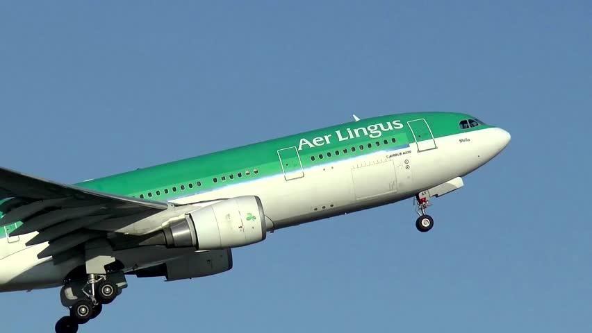 Aer Lingus Irish airlines taking off - Logan Airport Boston, Massachusetts USA - May 2, 2014