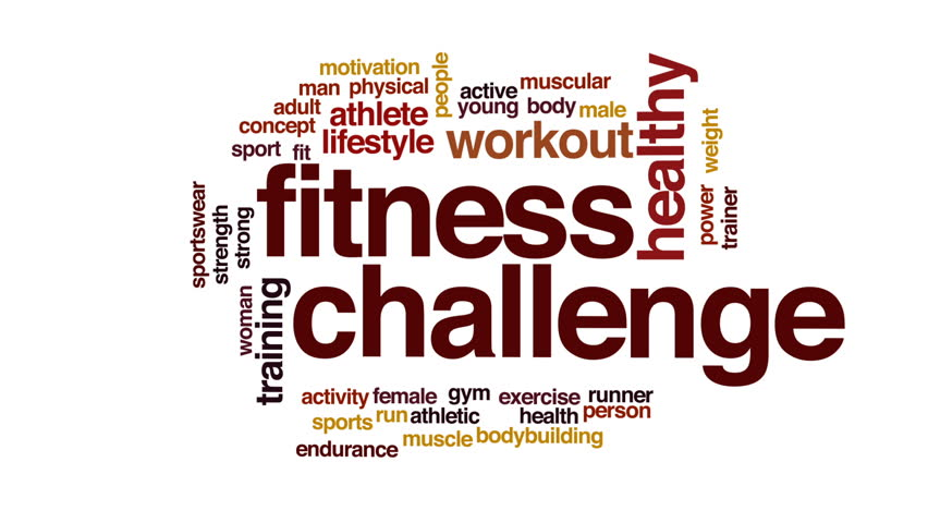 Fitness Challenge Animated Word Cloud Stock Footage Video 100