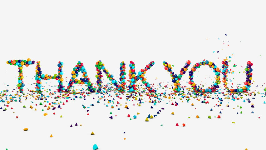 Motion graphics - thank you animation on white, fountain of geometric shapes