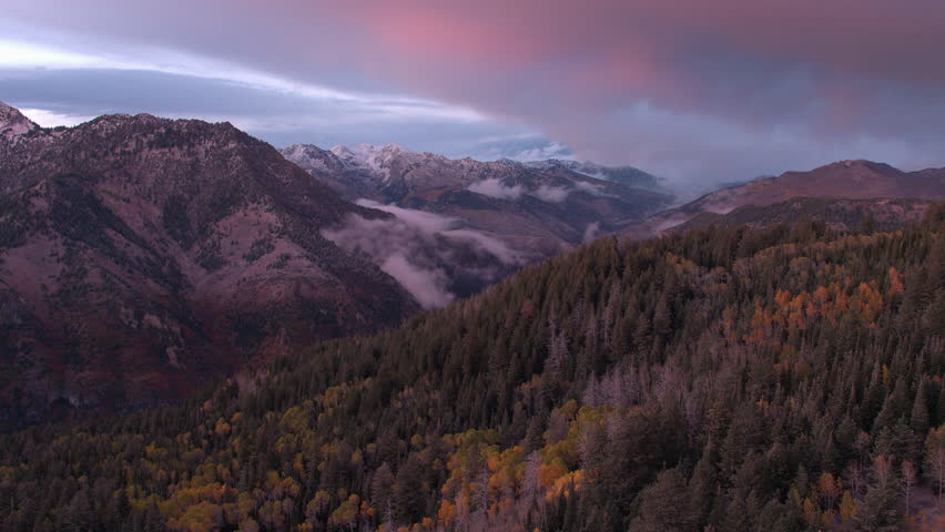 Aerial panning view of a colorful Utah mountainside in the fall at sunset. | Shutterstock HD Video #22834114