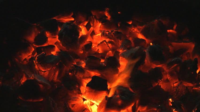 Hot red charcoals in a bonfire. #22859116