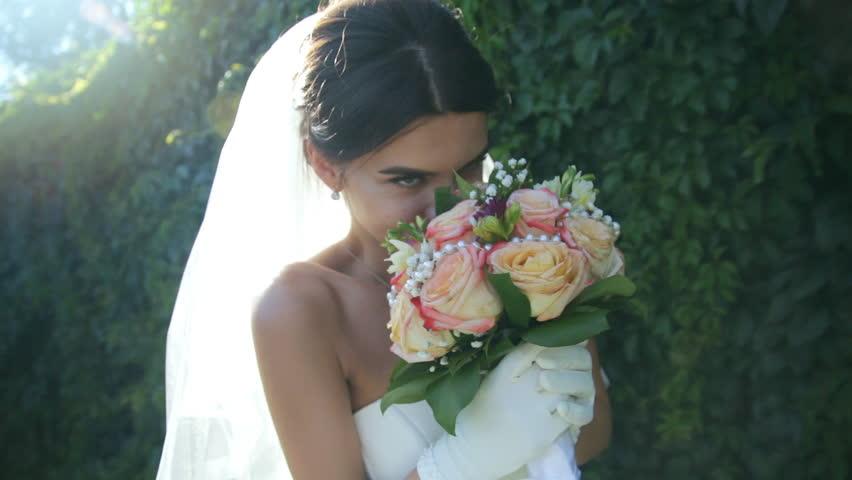 Romantic Wedding Concept Bride Holding Hand Forest Walking | Shutterstock HD Video #22904359