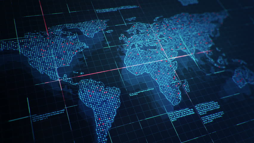 Abstract Animation Of World Map In Digital Screen With Colorful - World map data