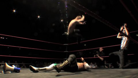 LONDON - April 1: Wrestling Elbow Drop Off Top Rope during BritWres-Fest 2012 on April 1, 2012