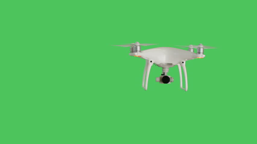 Drone with a Camera Flying. Background is Green Screen. Shot on RED Cinema Camera 4K (UHD).