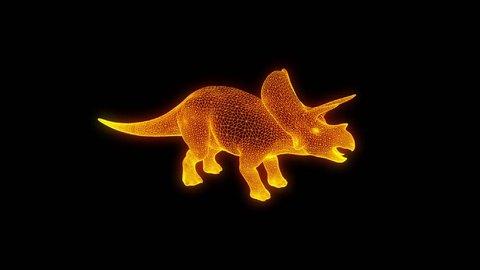 Dinosaur Triceratops in Hologram Wireframe Style. Nice 3D Rendering
