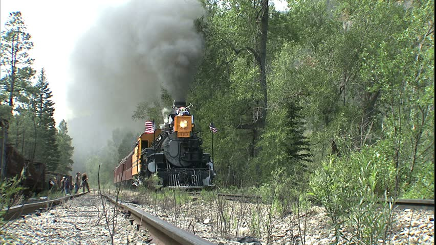 Smoke Belching Train moving to Camera. Circa 2003, Durango, Colorado