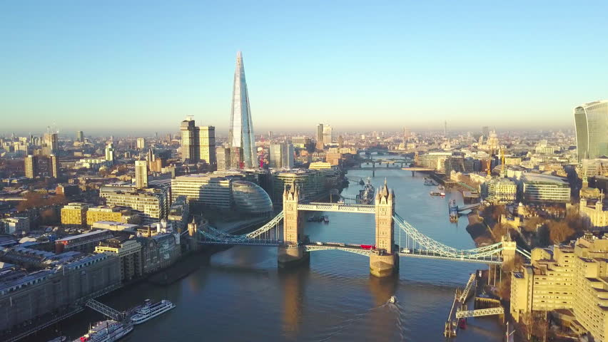 Aerial cityscape view of London and the River Thames, England, United Kingdom - Orbit shot | Shutterstock HD Video #22975294