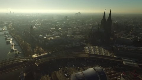 2 in 1. Cologne Cathedral. Germany Cologne. Aerial view
