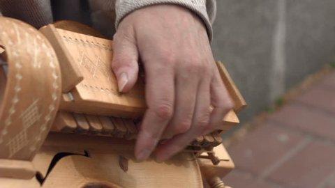 Hands of musicians who play the lyre. Stringed-stringed folk instrument. Ukraine city Kiev