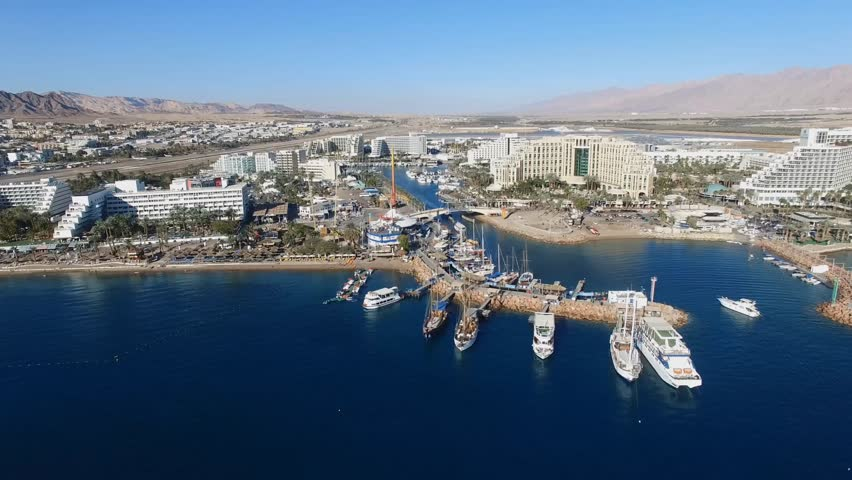 Eilat, Israel - Aerial footage over the red sea