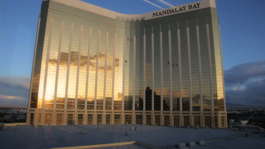 Las Vegas - Circa 2010: The Mandalay Bay Hotel in 2010. An aerial view of the Mandalay Bay Hotel at sunset in Las, Vegas Nevada.