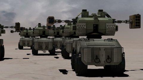 Robotic tanks or mechs, futuristic concept
