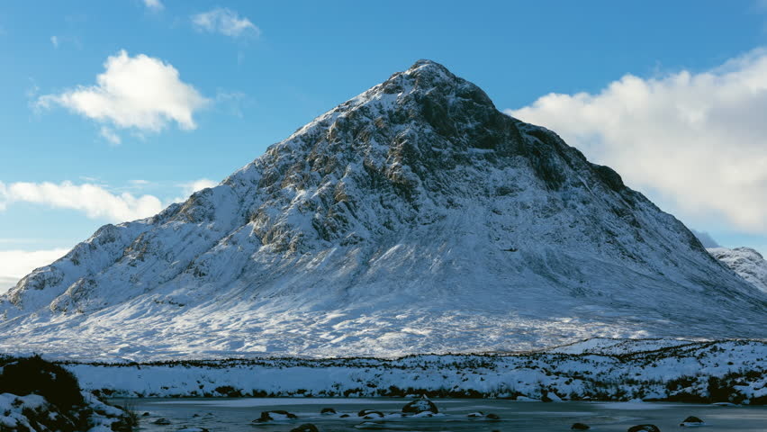 Timelapse of Buachaille Etive Mor in Glen Coe Covered in Snow in Winter