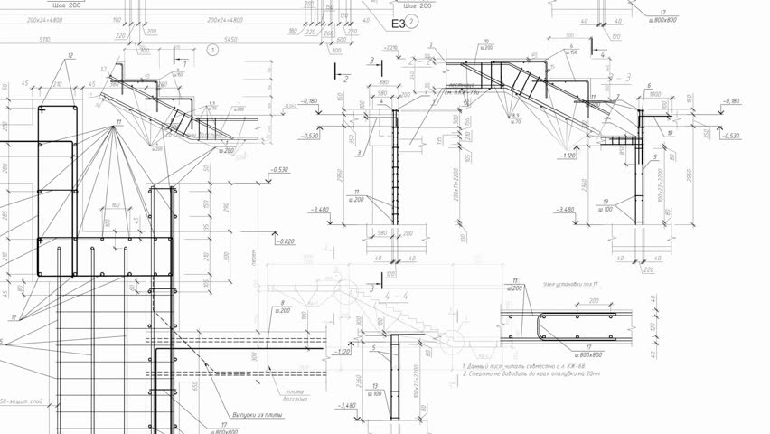 Construction drawings background.  loop | Shutterstock HD Video #23164654