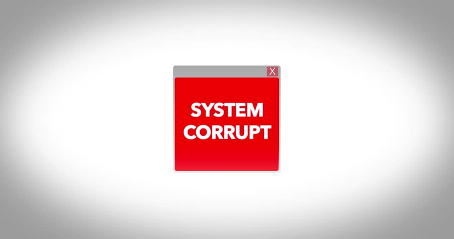System corrupt popup on a computer screen