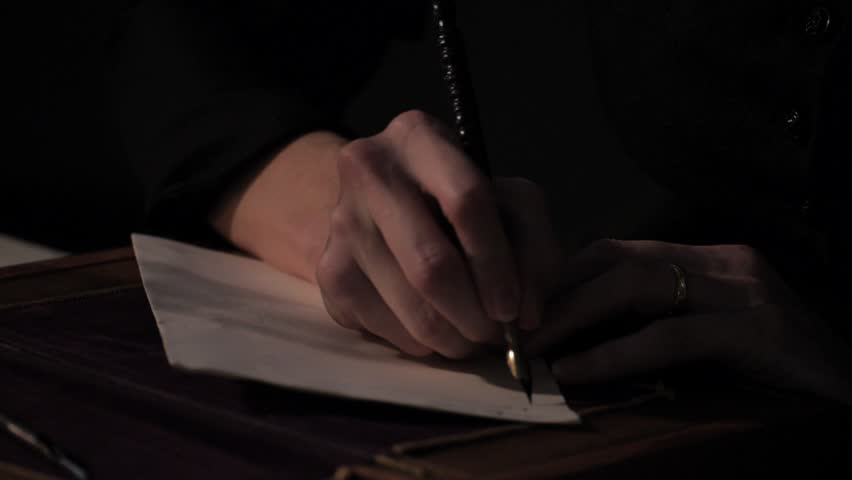 VIRGINIA - SUMMER 2016 - Reenactment, Recreation -- Documents, Tabletop, quill writing, pen & ink, dipping ink and writing.  Woman, Author writes book, on paper, diary.  Suffragette writes manuscript