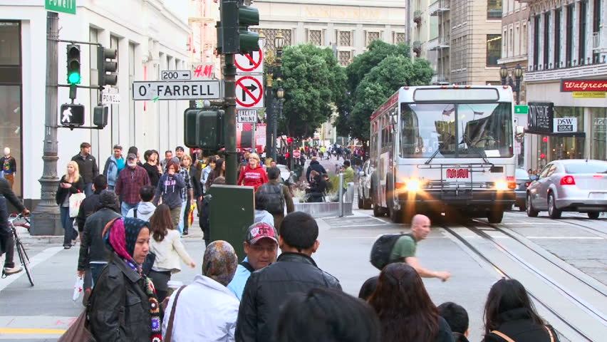 SAN FRANCISCO - CIRCA OCTOBER 2010: Busy intersection with people walking and