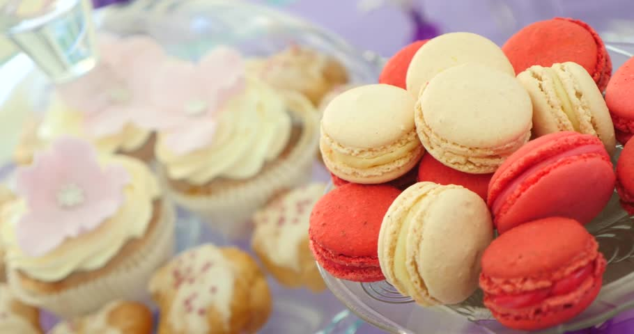 Colorful macaroons on the plate.