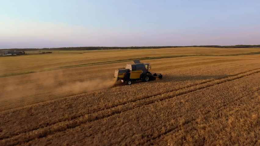 Flying Around Working Agricultural Harvester on Wheat Field at Sunset Time.   Shutterstock HD Video #23337874