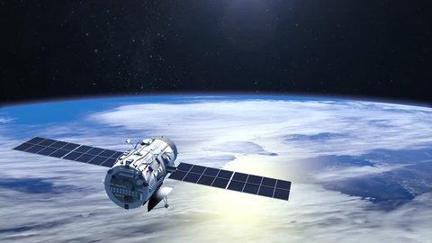 Flying satellite. The satellite flies away. 4K.