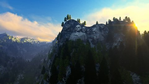 Mount Rushmore, morning mist, camera fly