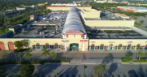 MIAMI - JANUARY 20, 2017: Aerial drone video of The Mall at 163rd Street which is a commercial shopping mall located at 1421 Northeast 163rd Street opened in 1956