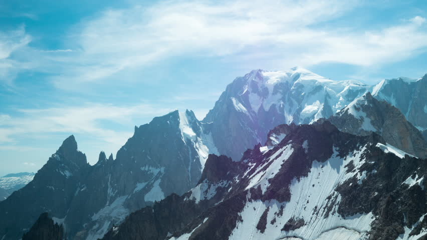 Movement of the clouds on the mountains range near the Mont Blanc, 4K timelapse