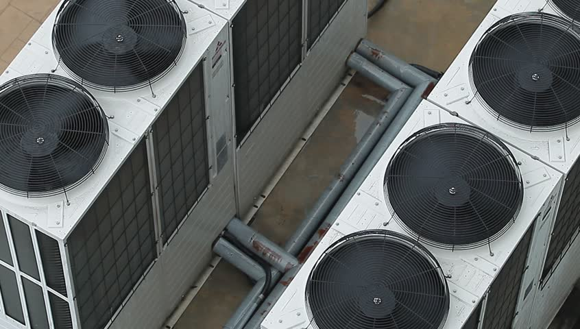 Industrial large air conditioning fans on function.