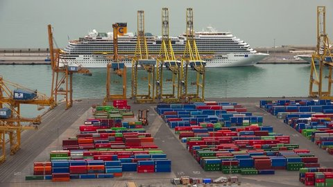Container Port Docks Ship Commercial Stock Footage Video