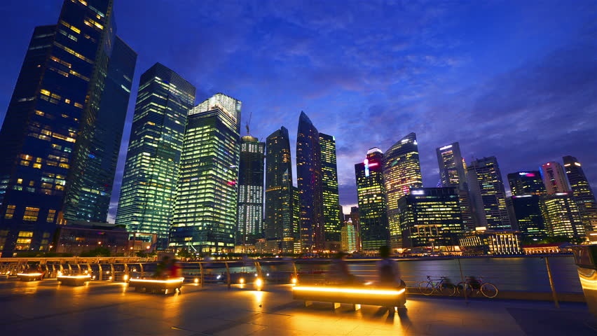 SINGAPORE - MAY 8: Sunset at Marina bay quay in the centre of Singapore on May 8, 2012. Hyperlapse