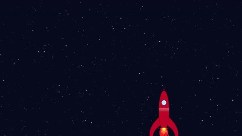 Rocket flying in space. Retro cartoon style with flat design. Travel and adventure in cosmos with a rocketship.