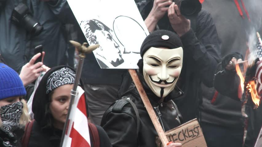 PORTLAND, OREGON - CIRCA 2017: Protesters gather...