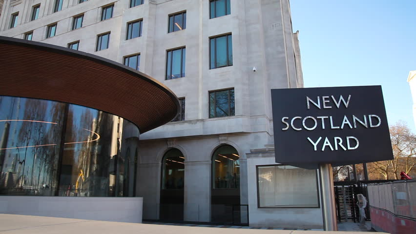 UNITED KINGDOM, LONDON - JANUARY 2017: New Scotland Yard Revolving Sign; Curtis Green Building Victoria Embankment