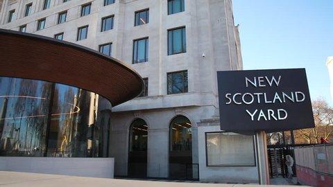 UNITED KINGDOM, LONDON - JANUARY 2017: New Scotland Yard Revolving Sign; Curtis Green Building Victoria Embankment